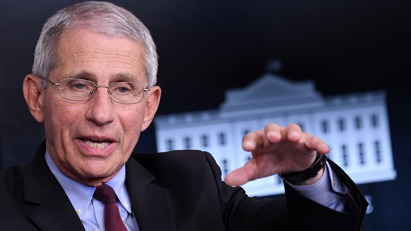 Director of the National Institute of Allergy and Infectious Diseases Anthony Fauci speaks during an unscheduled briefing after a Coronavirus Task Force meeting at the White House on April 5, 2020, in Washington, DC. (Eric Baradat/AFP via Getty Images)