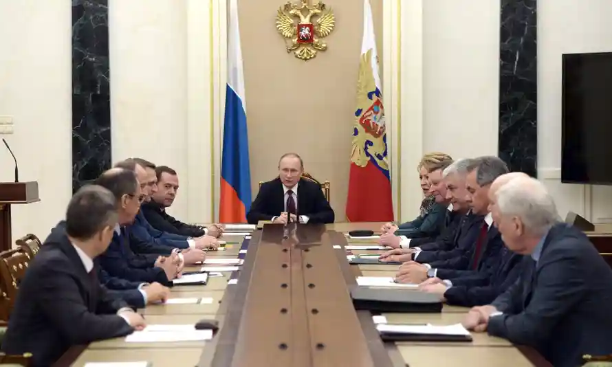 Vladimir Putin holds a meeting with permanent members of the security council on 22 January 2016 at the Kremlin