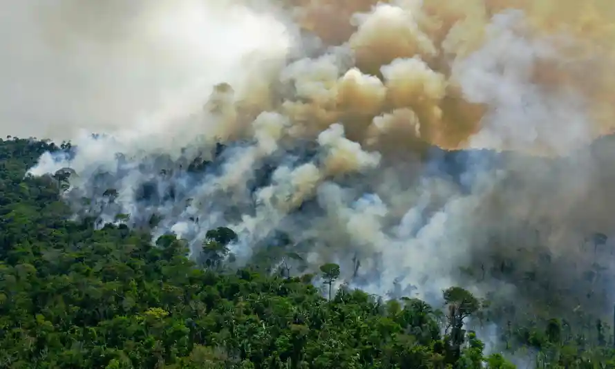 Aerial view of a burning area of Amazon rainforest reserve