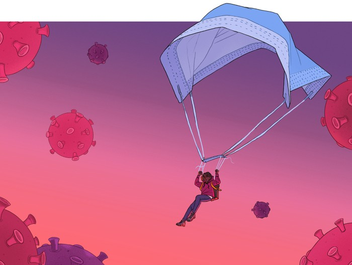 Cartoon of a person parachuting using a surgical mask through a sky filled with viruses